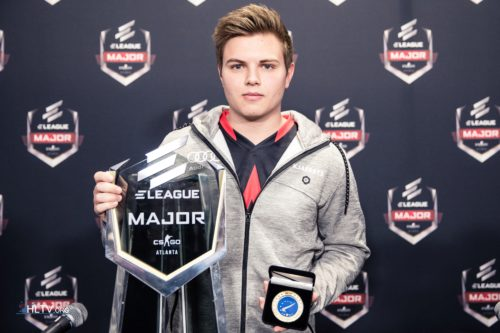 Kjaerbye with the ELEAGUE Major 2017 trophy and his HLTV MVP medal