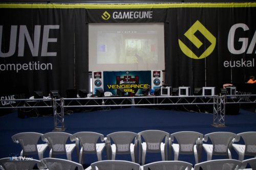 Center of the GameGune area with stage and spectating area