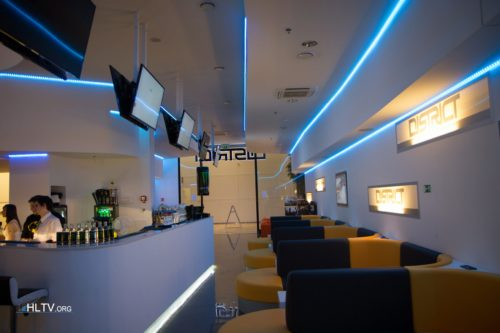 Lounge where visitors are able to watch matches from