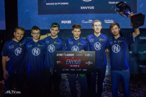 EnVyUs with their manager Next (on the left)