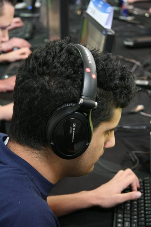 mJe playing with the newest Sennheiser headset, PC 350.