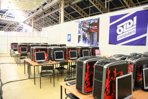 The Counter-Strike tournament area. CoolerMasters KODE5 cases.